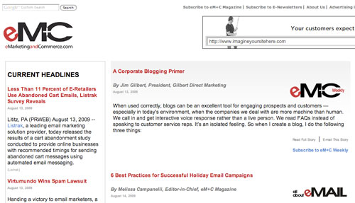 Jim Gilbert's Blogging article is the lead in this weeks eMarketing & Commerce Magazine (eM+C) online