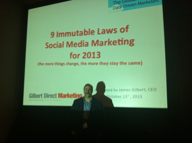 Jim Gilbert Presenting The 9 Immutable Laws of Social Media Marketing at #DMA13 in Chicago