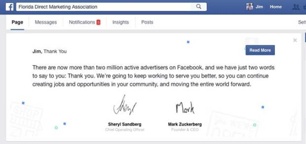 Message from Mark Zuckerberg from Facebook on the Florida Direct Marketing Association page